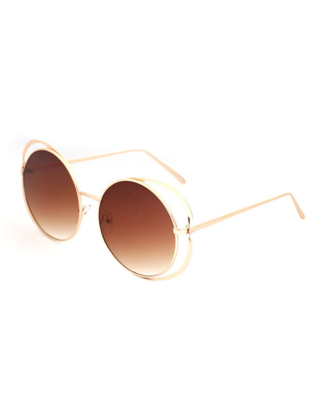 Fashion Lab - Round Side Cut Out Sunglasses