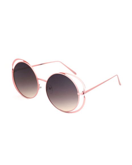 Fashion Lab - Round Side Cut Out Sunglasses