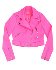 Outerwear - Faux Leather Crop Moto Jacket-2483130