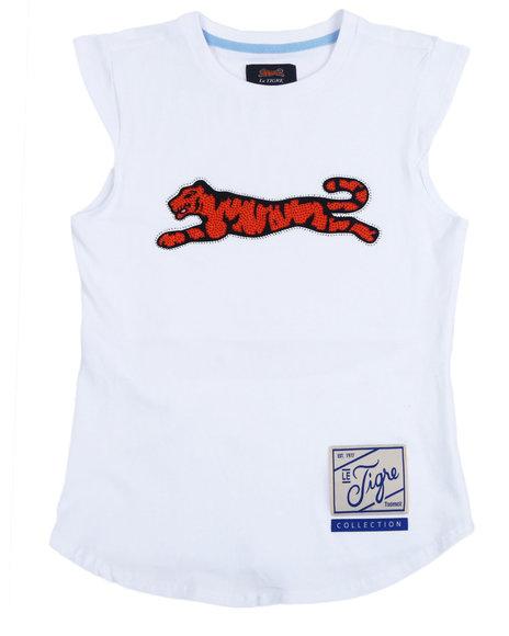 Le Tigre - Isabella Cap Sleeve T-Shirt w/Open Back & Rhinestones