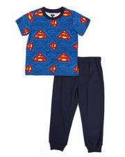 Arcade Styles - 2 Pc Superman Logo Tee & French Terry Jogger Pants Set (2T-4T)-2490162