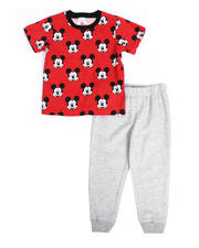 Disney - 2 Pc Mickey Face Print Tee & Jogger Pants Set (2T-4T)-2490166