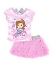 Sets - 2 Pc Sophia Bow Top & Tulle Divided Skirt Set (4-6X)-2490970