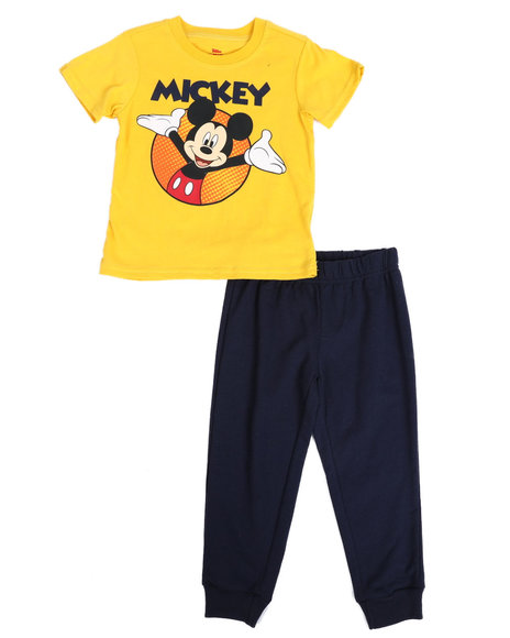 Disney - 2 Pc Mickey Tee & French Terry Jogger Pants Set (2T-4T)