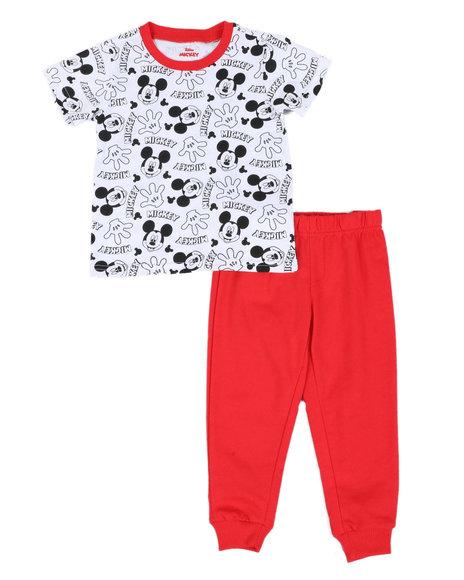 Disney - 2 Pc Mickey Face/Hand Print Tee & Jogger Pants Set (2T-4T)