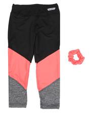 HIND - Color Block Capri Leggings W/ Hair Accessory Gift (7-16)-2490439