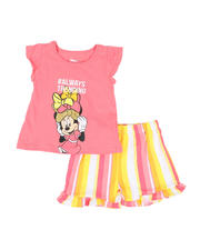 Disney - 2 Pc Minnie #Always Trending Tee & Stripe Shorts Set (4-6X)-2490980