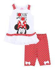 Sets - 2 Pc Minnie Rockin' My Dots Ruffle Tank Top  & Dot Print Bike Shorts Set (4-6X)-2490990