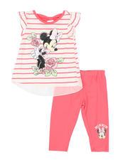 Disney - 2 Pc Minnie Striped Tee & Stripe Leggings Set (4-6X)-2491005