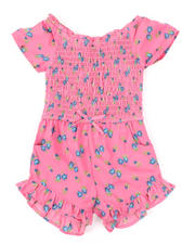 Girls - Allover Print Smocked Romper W/ Ruffle Hem (4-6X)-2491375