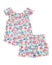 La Galleria - 2 Pc Floral Ruffle Top & Paper Bag Shorts Set (7-16)-2491379