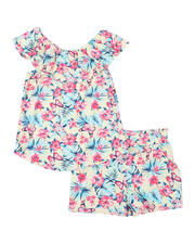 Sets - 2 Pc Floral Ruffle Top & Paper Bag Shorts Set (7-16)-2491379