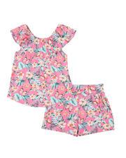 La Galleria - 2 Pc Floral Ruffle Top & Paper Bag Shorts Set (7-16)-2491383