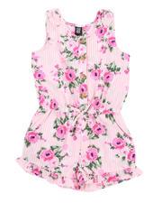 La Galleria - Floral Stripe Romper W/ Ruffle Hem (2T-4T)-2491387