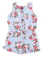 La Galleria - Floral Stripe Romper W/ Ruffle Hem (2T-4T)-2491391