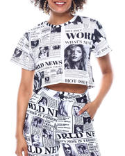 Womens-Holiday - Newspaper S/S Crop Top-2483108