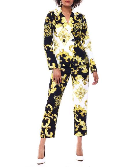 Fashion Lab - 2 Pc Status Print Blazer & Cigarette Pant Set