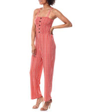 Womens-Holiday - Smocked Bodice Faux Bttn Frt Wide Strap Jumpsuit-2490871