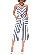 Womens-Holiday - S/L Linen Stripe Gaucho Jumpsuit-2491029