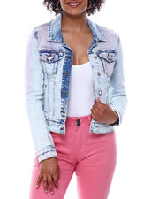 Womens-Holiday - Denim jacket w/pink tie dye wash-2491107