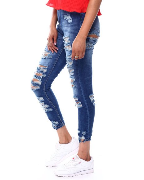 Fashion Lab - High Rise Front/Back Destructed Skinny Jean