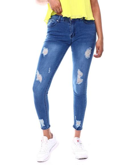 Fashion Lab - Mid Rise Distressed Skinny Jean