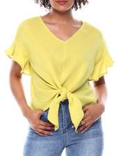 Fashion Tops - Ruffle Trim Sleeve Tie front Hi Low Top-2482856