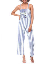 Womens-Holiday - Smocked Bodice Faux Bttn Frt Wide Strap Jumpsuit-2490867