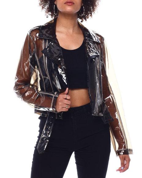 Fashion Lab - Clear crop moto black clear pu w/wht bnding jacket