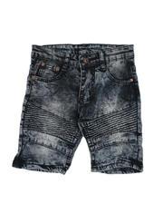Arcade Styles - Washed Stretch Moto Denim Shorts (4-7)-2491314