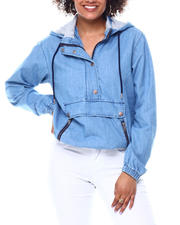 Fashion Lab - Jersey lined hoodie denim pull on-2491118