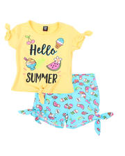 Girls - 2 Pc Hello Summer Tee & Printed Shorts Set (2T-4T)-2491989