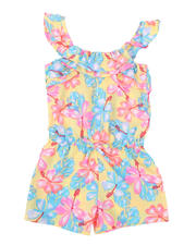 Rompers - Allover Floral Print Romper W/ Ruffle Flounce (4-6X)-2491993