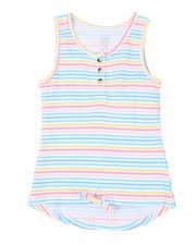 La Galleria - Hi-Low Striped Tie-Front Top (7-16)-2492009
