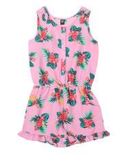 Girls - Floral Print Romper W/ Ruffle Hem (7-16)-2492001