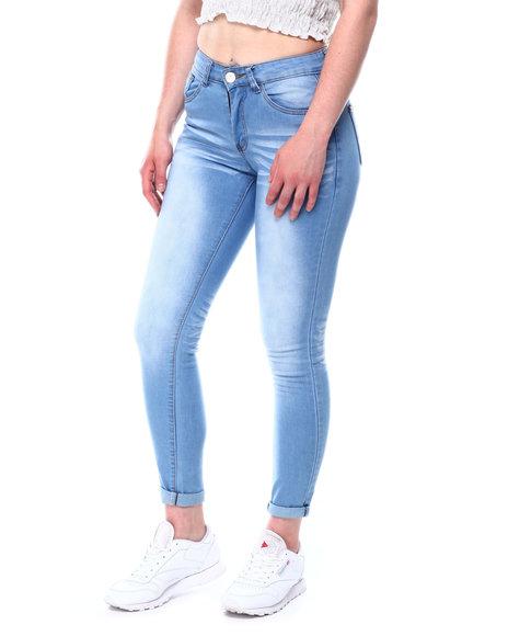 Fashion Lab - Washed Stretch Roll Cuff Skinny Ankle Jean