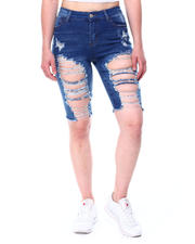 Fashion Lab - High Rise Destructed Ripped Hem Denim Bermuda-2482615