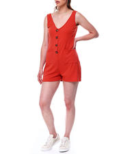 Fashion Lab - Rib slvless double vee neck front button placket romper w/front pockets-2488647