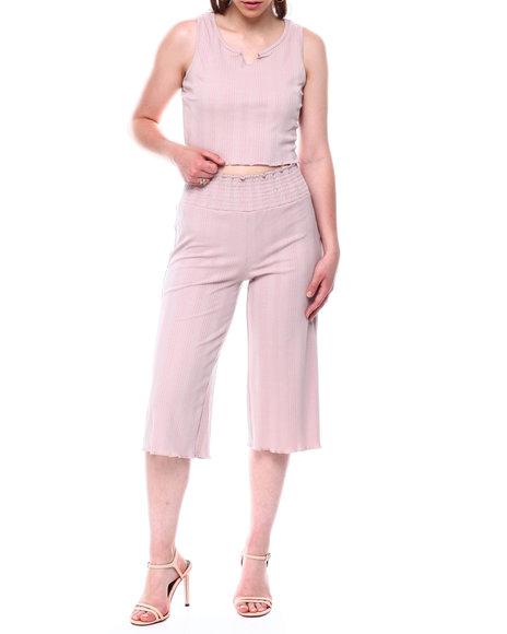 Fashion Lab - Rib S/L Slit Front Top & Smocked Waistband Rib Capri Set