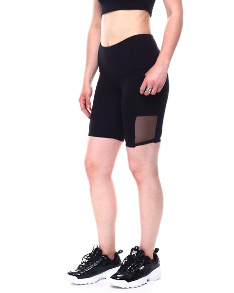 Fashion Lab - Yummy High Waist Bike Short w/Side Pockets & Mesh Inserts