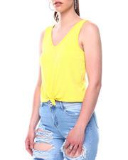 Women - Drop needle rib sleeve less vee neck top w/knot front-2488579