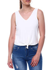 Women - Drop needle rib sleeve less vee neck top w/knot front-2488583