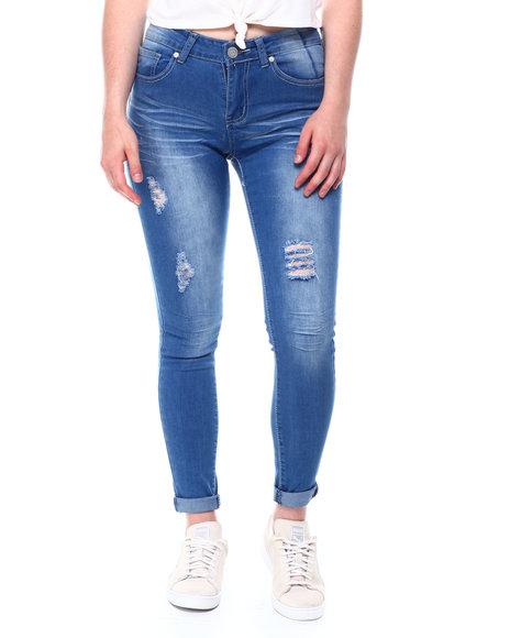 Fashion Lab - Mid Rise Distressed Roll Cuff Skinny Jean