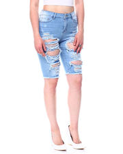 Fashion Lab - High Rise Blow Out Destruction Long Denim Bermuda-2482623