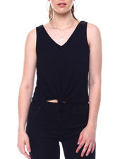 Tanks, Tubes & Camis - Drop needle rib sleeve less vee neck top w/knot front-2488591
