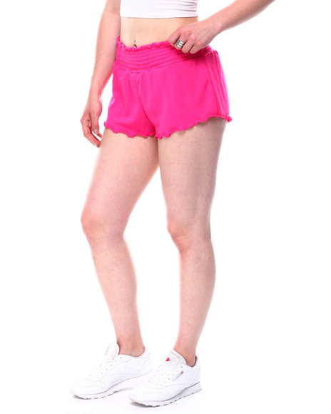 Fashion Lab - French terry smocking waistband shorts w/lettuce edge detail