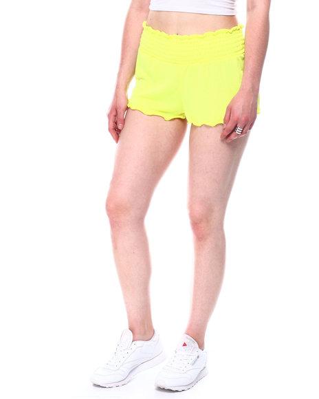 Fashion Lab - French terry smocking waistband shorts w/lettuce edge detail