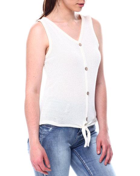 DEREK HEART - S/L Faux Button Tie Frt Sweater Knit Top