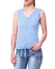 Tanks, Tubes & Camis - S/L Faux Button Tie Frt Sweater Knit Top-2490887