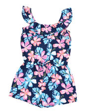 Rompers - Allover Floral Print Romper W/ Ruffle Flounce (4-6X)-2491997